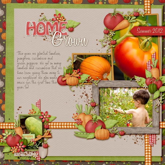 The Weekend Housewife - Our Vegetable Garden - Digital Scrapbook Page - Sweet Shoppe Designs